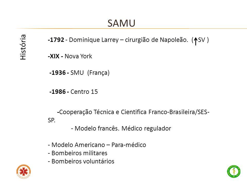 -1792 - Dominique Larrey – cirurgião de Napoleão. ( SV ) -XIX - Nova York -1936 - SMU (França) -1986 - Centro 15 -Cooperação Técnica e Cientifica Fran