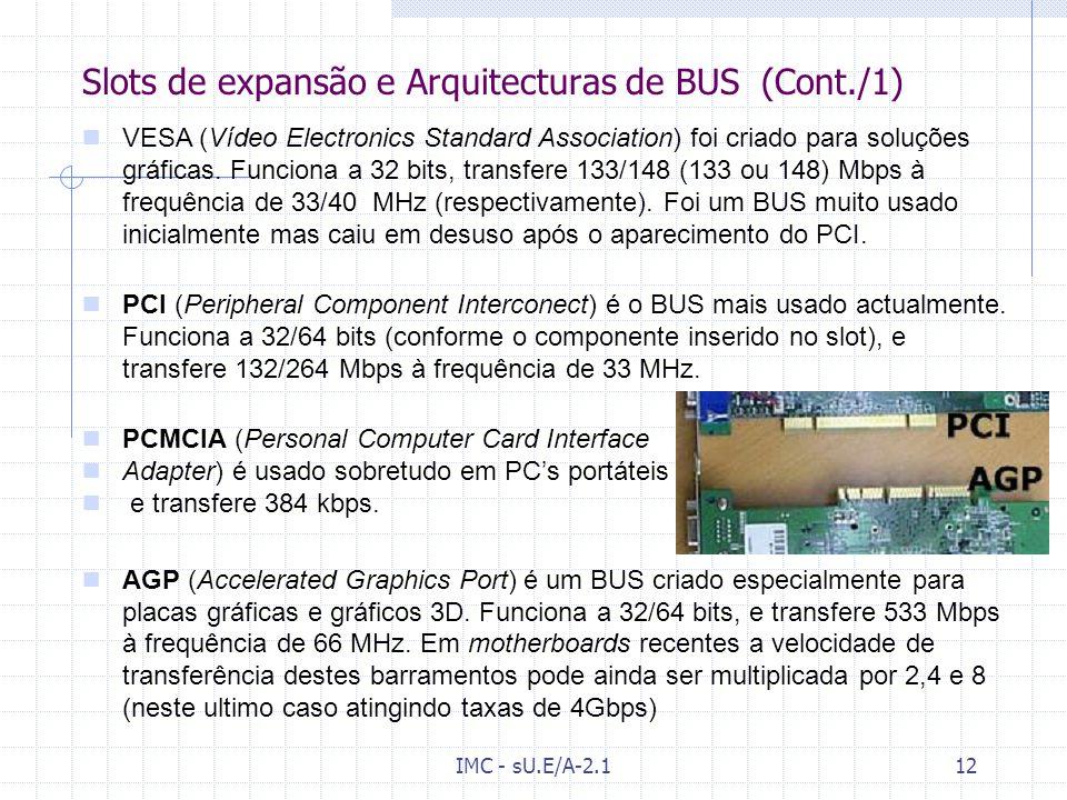 IMC - sU.E/A-2.111 Slots de expansão e Arquitecturas de BUS [Wk] [7]Wk[7 A comunicação de dados, instruções e sinais de controlo são feitas através de