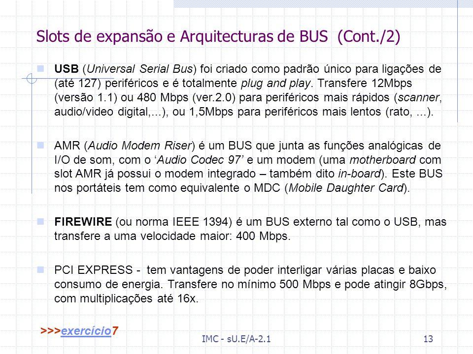 IMC - sU.E/A-2.112 Slots de expansão e Arquitecturas de BUS (Cont./1) VESA (Vídeo Electronics Standard Association) foi criado para soluções gráficas.