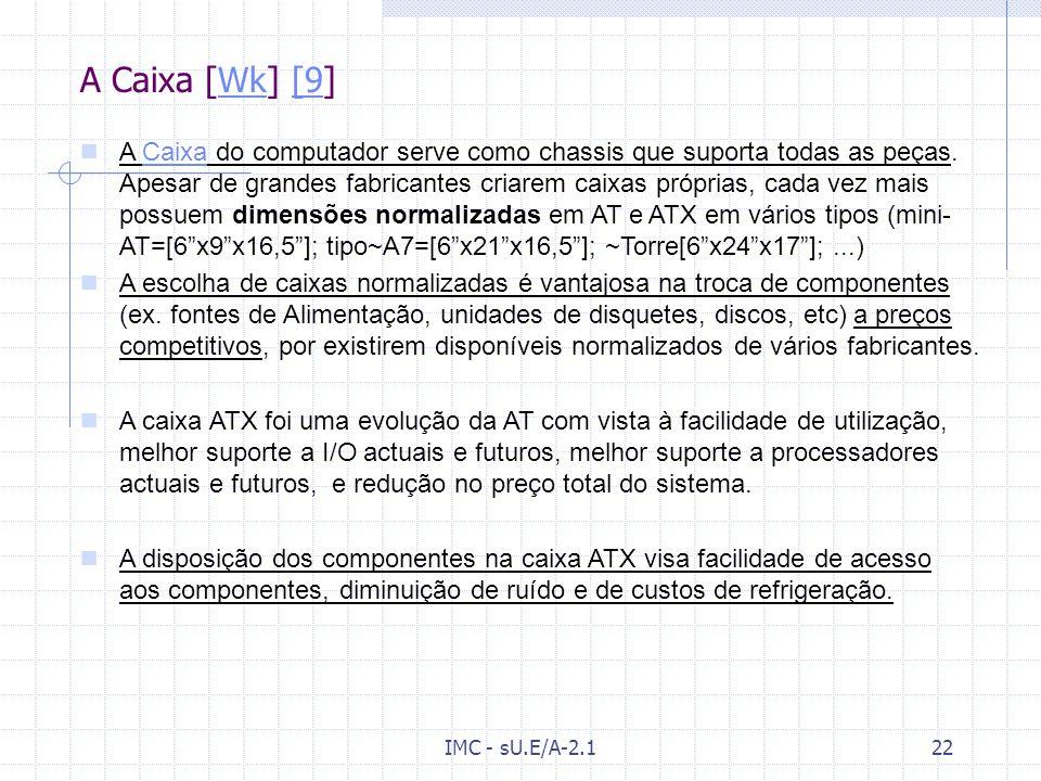 IMC - sU.E/A-2.121 A placa de Vídeo (Cont.) VGA(Vídeo Graphics Array) – permitia resoluções de 640x480 pixeis com 256 cores, e possuía memória de 256k