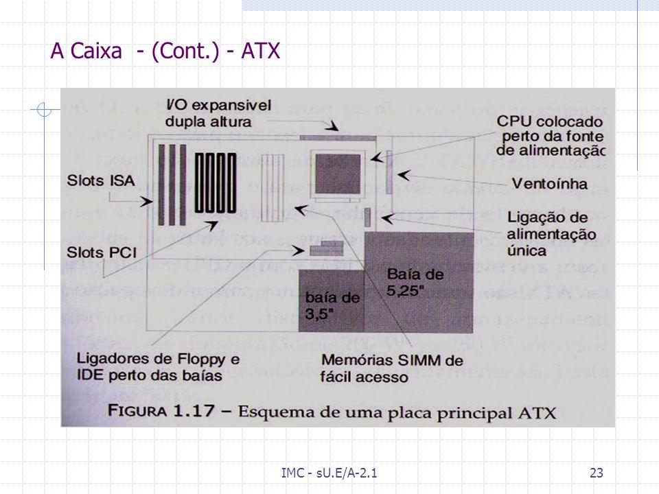 IMC - sU.E/A-2.122 A Caixa [Wk] [9]Wk[9 A Caixa do computador serve como chassis que suporta todas as peças. Apesar de grandes fabricantes criarem cai