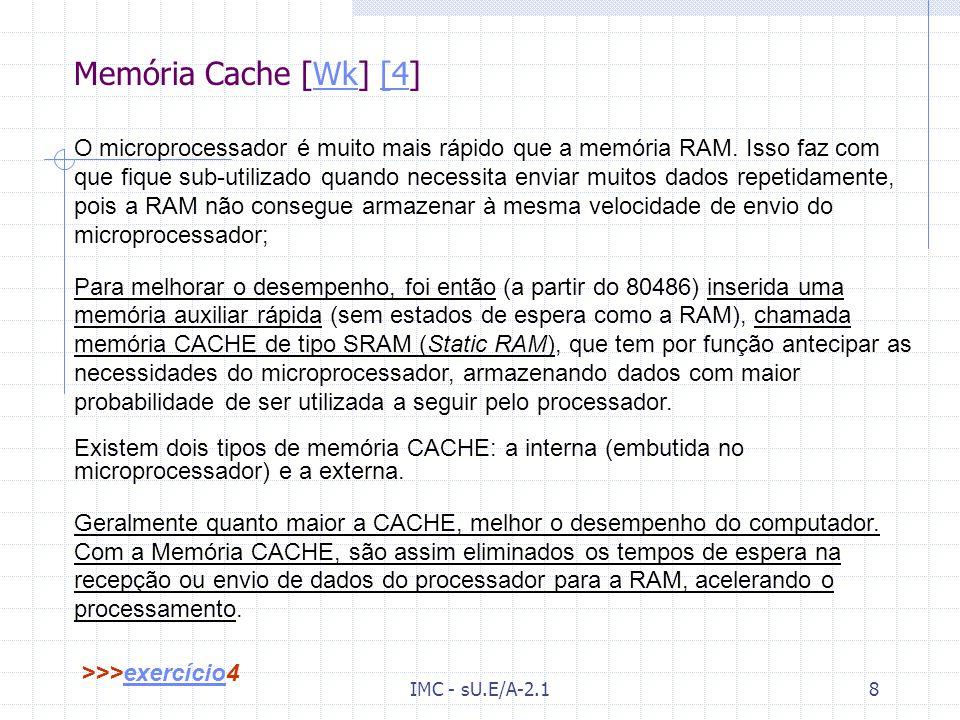IMC - sU.E/A-2.17 Memória[Wk] RAM [GH-7] [3]WkGH-7[3 RAM (Random Access Memory) = = Memória de acesso aleatório; As memórias RAM são dispositivos que