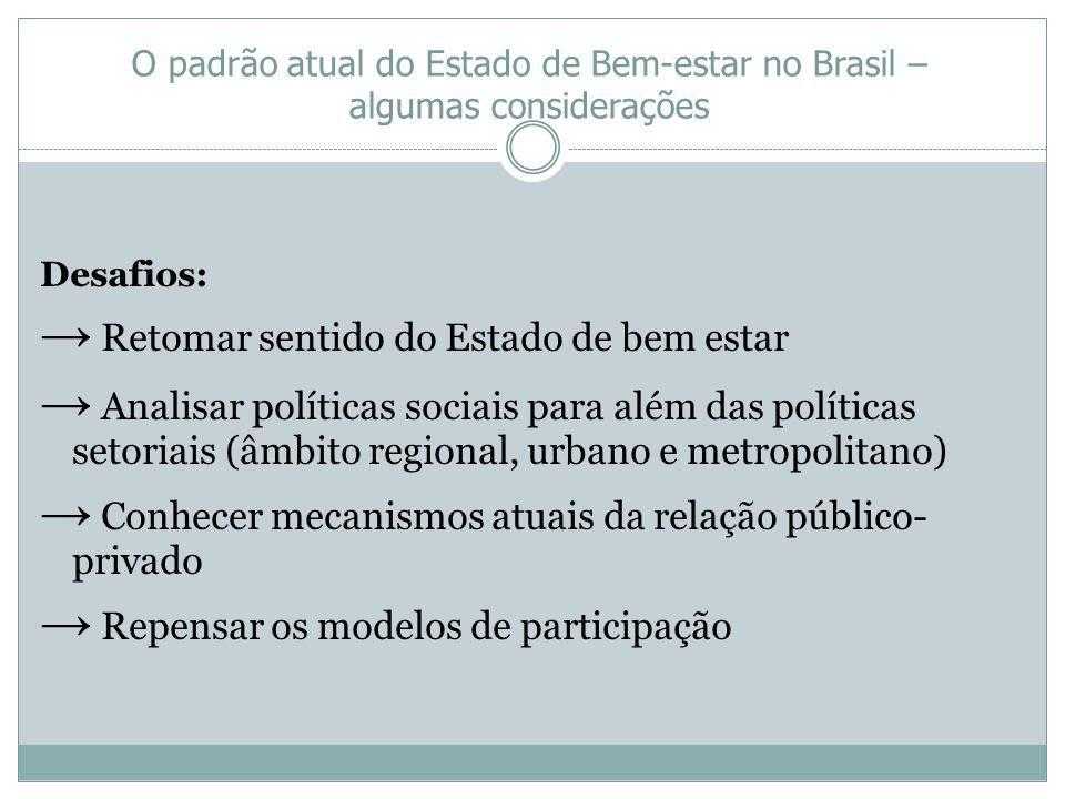 O padrão atual do Estado de Bem-estar no Brasil – algumas considerações Desafios: Retomar sentido do Estado de bem estar Analisar políticas sociais pa