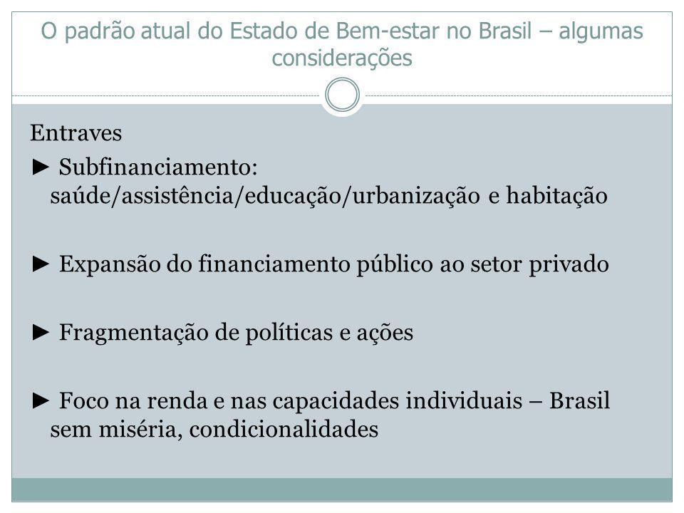 O padrão atual do Estado de Bem-estar no Brasil – algumas considerações Entraves Subfinanciamento: saúde/assistência/educação/urbanização e habitação