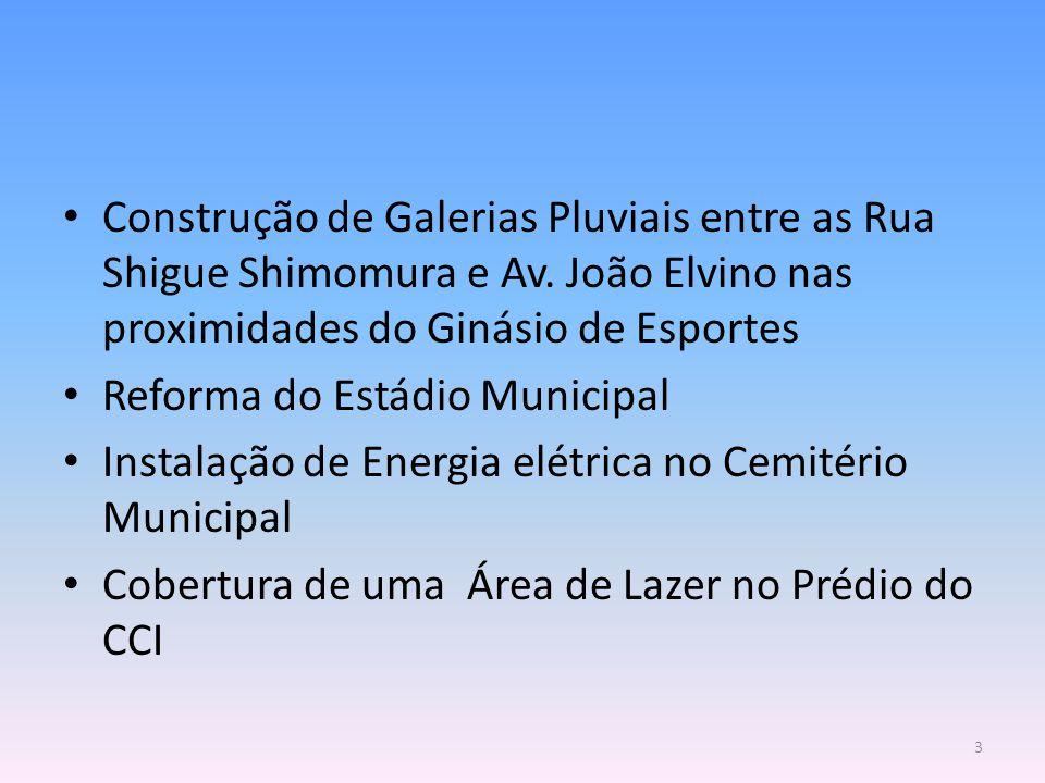 Construção de Galerias Pluviais entre as Rua Shigue Shimomura e Av. João Elvino nas proximidades do Ginásio de Esportes Reforma do Estádio Municipal I