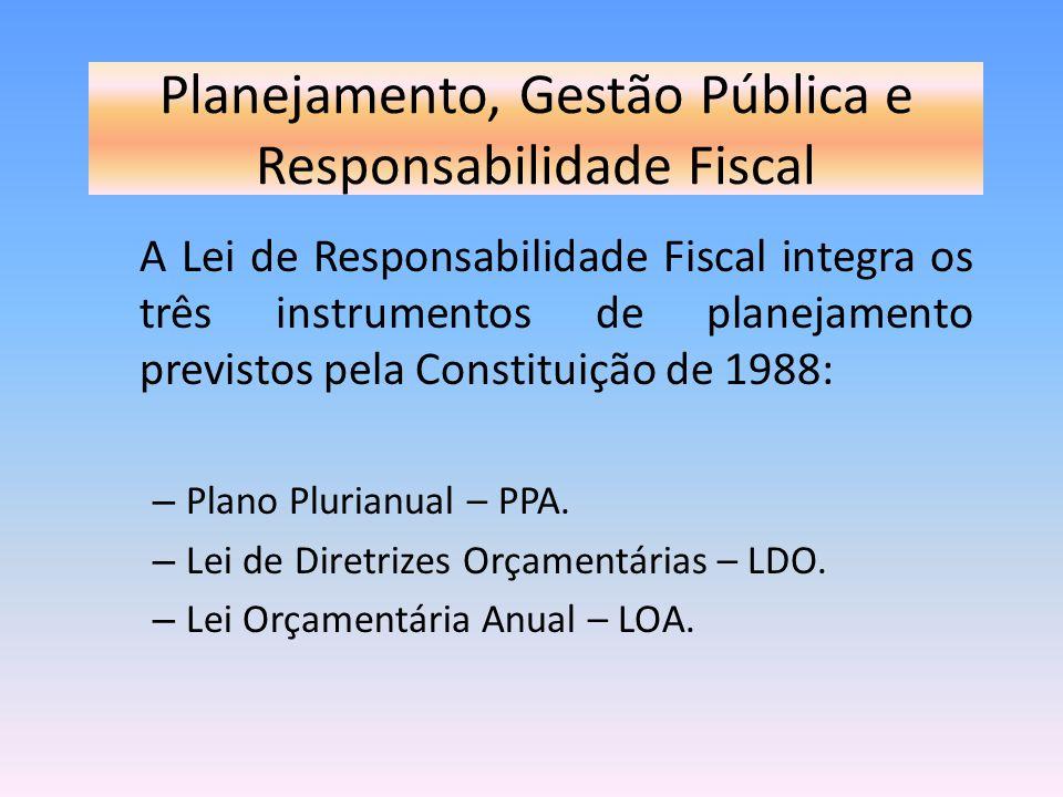 Planejamento, Gestão Pública e Responsabilidade Fiscal A Lei de Responsabilidade Fiscal integra os três instrumentos de planejamento previstos pela Co