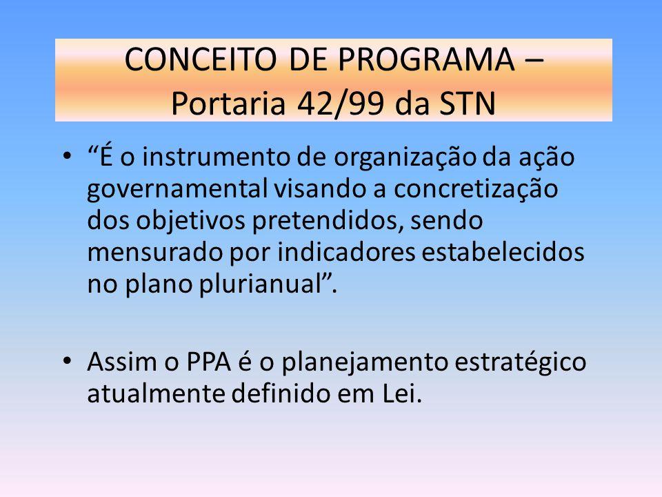 CONCEITO DE PROGRAMA – Portaria 42/99 da STN É o instrumento de organização da ação governamental visando a concretização dos objetivos pretendidos, s