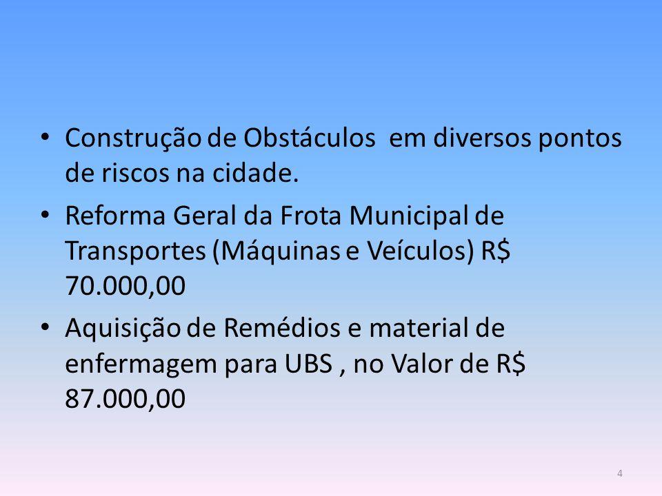 Construção de Obstáculos em diversos pontos de riscos na cidade. Reforma Geral da Frota Municipal de Transportes (Máquinas e Veículos) R$ 70.000,00 Aq