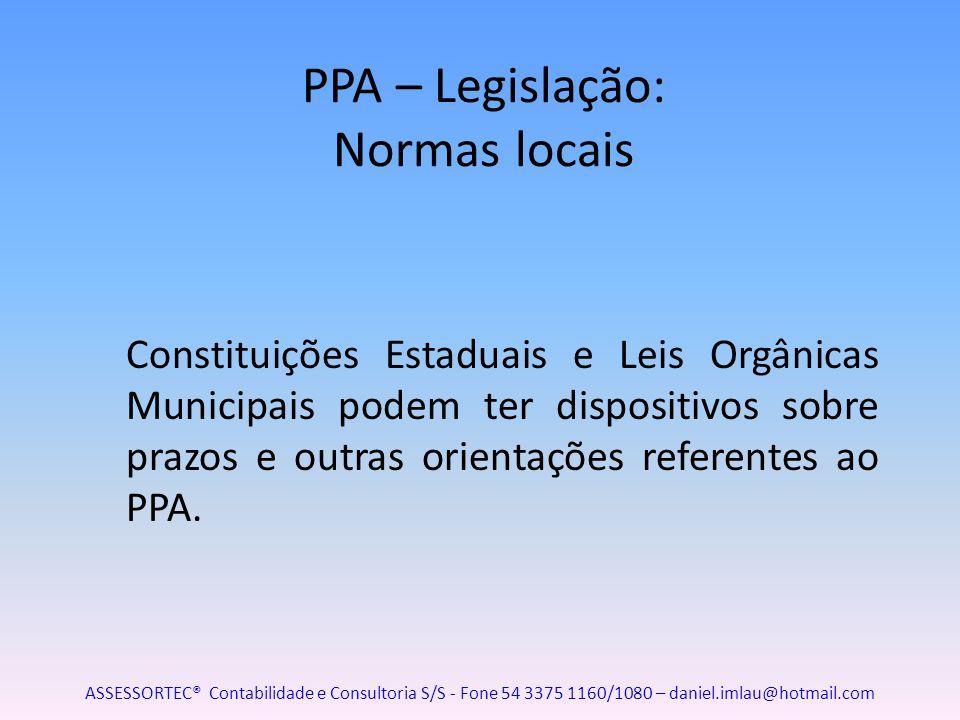 PPA – Legislação: Normas locais Constituições Estaduais e Leis Orgânicas Municipais podem ter dispositivos sobre prazos e outras orientações referente