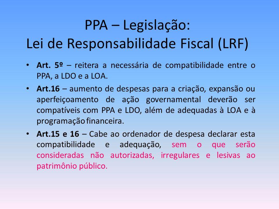 PPA – Legislação: Lei de Responsabilidade Fiscal (LRF) Art. 5º – reitera a necessária de compatibilidade entre o PPA, a LDO e a LOA. Art.16 – aumento
