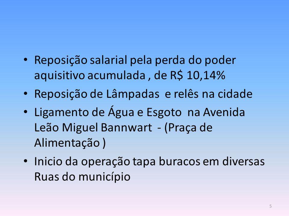Reposição salarial pela perda do poder aquisitivo acumulada, de R$ 10,14% Reposição de Lâmpadas e relês na cidade Ligamento de Água e Esgoto na Avenid