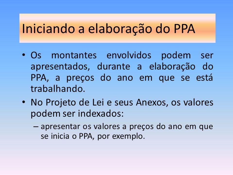 Iniciando a elaboração do PPA Os montantes envolvidos podem ser apresentados, durante a elaboração do PPA, a preços do ano em que se está trabalhando.