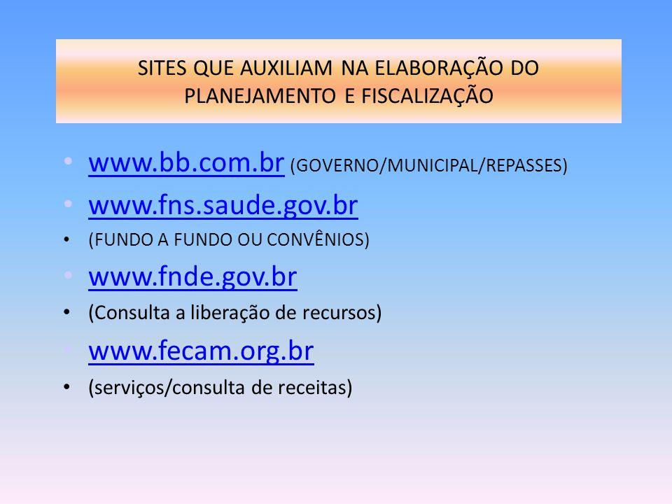 SITES QUE AUXILIAM NA ELABORAÇÃO DO PLANEJAMENTO E FISCALIZAÇÃO www.bb.com.br (GOVERNO/MUNICIPAL/REPASSES) www.bb.com.br www.fns.saude.gov.br (FUNDO A