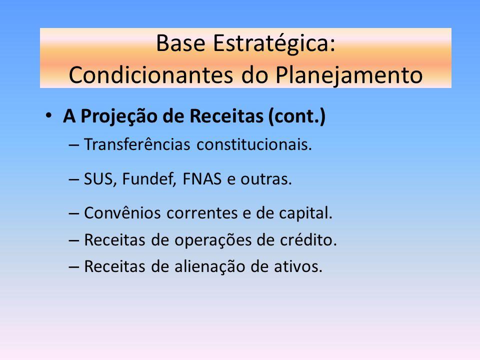 Base Estratégica: Condicionantes do Planejamento A Projeção de Receitas (cont.) – Transferências constitucionais. – SUS, Fundef, FNAS e outras. – Conv