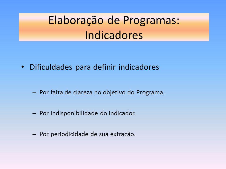 Elaboração de Programas: Indicadores Dificuldades para definir indicadores – Por falta de clareza no objetivo do Programa. – Por indisponibilidade do