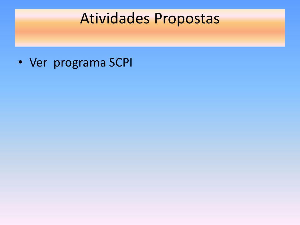 Atividades Propostas Ver programa SCPI