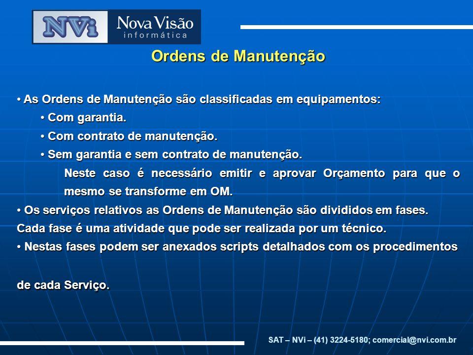 Ordens de Manutenção Em cada fase são controladas as horas dispendidas pelos técnicos e a quantidade de peças utilizadas.