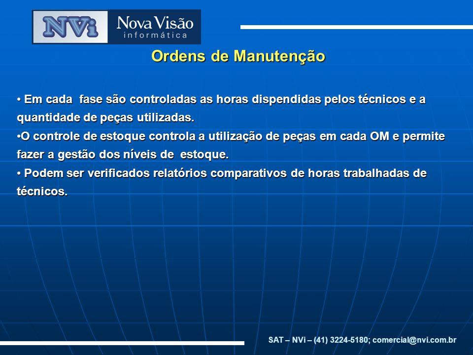 Ordens de Manutenção Em cada fase são controladas as horas dispendidas pelos técnicos e a quantidade de peças utilizadas. Em cada fase são controladas