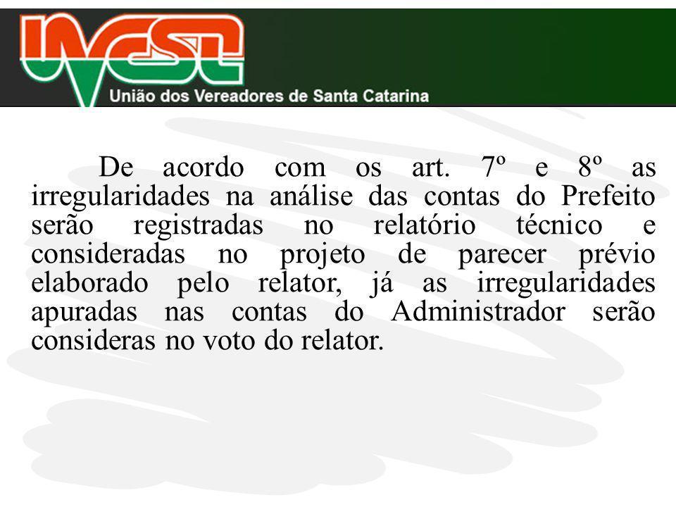 De acordo com os art. 7º e 8º as irregularidades na análise das contas do Prefeito serão registradas no relatório técnico e consideradas no projeto de