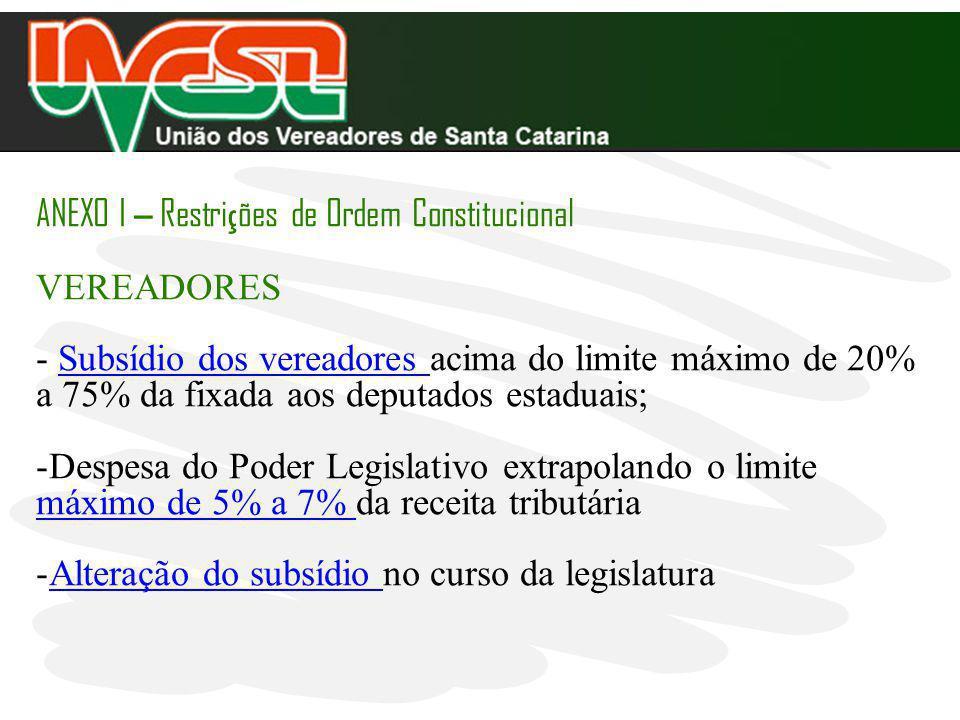 ANEXO I – Restri ç ões de Ordem Constitucional VEREADORES - Subsídio dos vereadores acima do limite máximo de 20% a 75% da fixada aos deputados estadu
