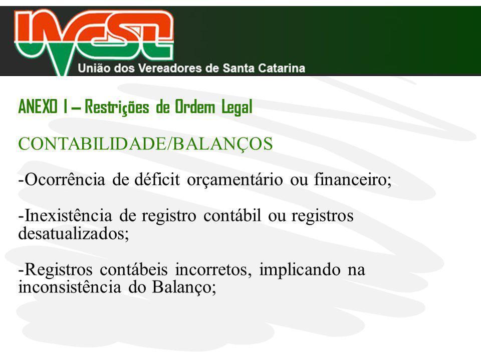 ANEXO I – Restri ç ões de Ordem Legal CONTABILIDADE/BALANÇOS -Ocorrência de déficit orçamentário ou financeiro; -Inexistência de registro contábil ou
