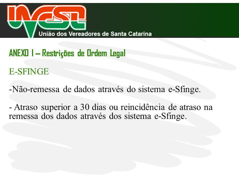 ANEXO I – Restri ç ões de Ordem Legal E-SFINGE -Não-remessa de dados através do sistema e-Sfinge. - Atraso superior a 30 dias ou reincidência de atras