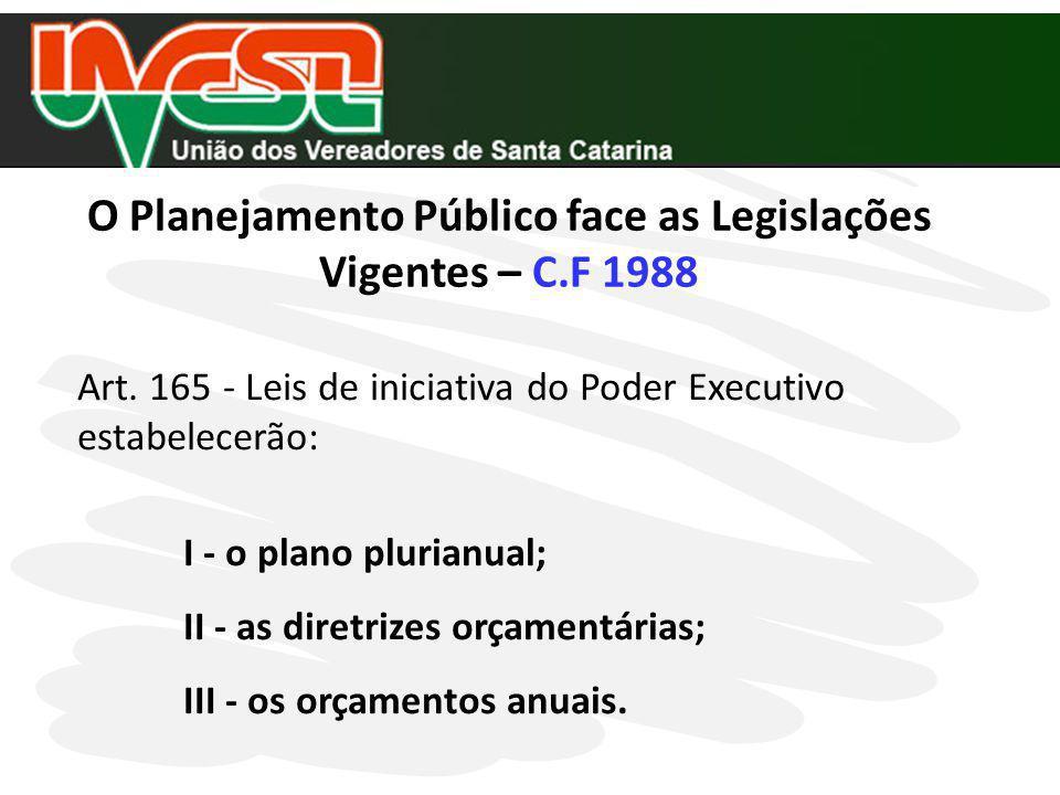 O Planejamento Público face as Legislações Vigentes – C.F 1988 Art. 165 - Leis de iniciativa do Poder Executivo estabelecerão: I - o plano plurianual;