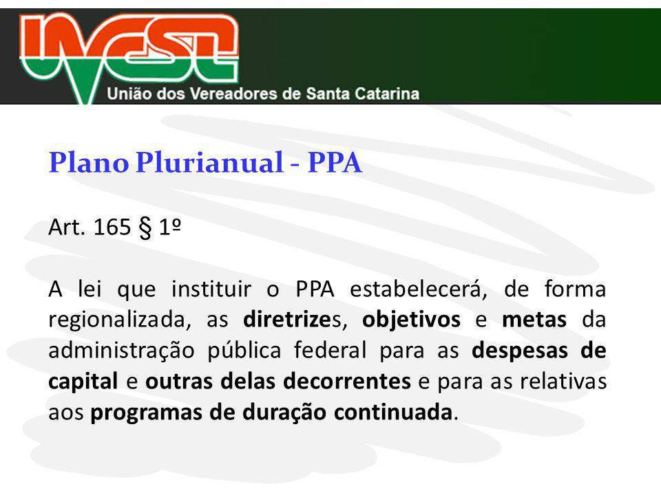 Plano Plurianual - PPA Art. 165 § 1º A lei que instituir o PPA estabelecerá, de forma regionalizada, as diretrizes, objetivos e metas da administração