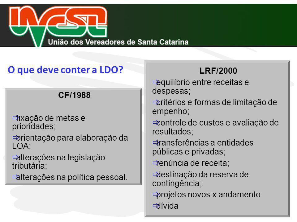 LRF/2000 equilíbrio entre receitas e despesas; critérios e formas de limitação de empenho; controle de custos e avaliação de resultados; transferência