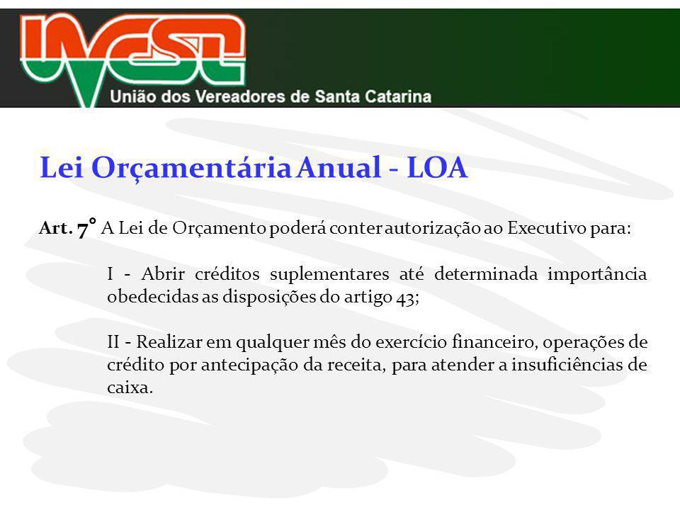 Lei Orçamentária Anual - LOA Art. 7° A Lei de Orçamento poderá conter autorização ao Executivo para: I - Abrir créditos suplementares até determinada