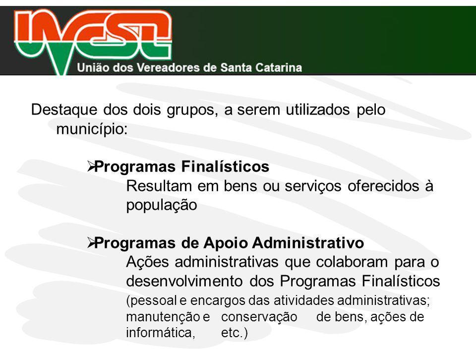 Destaque dos dois grupos, a serem utilizados pelo município: Programas Finalísticos Resultam em bens ou serviços oferecidos à população Programas de A