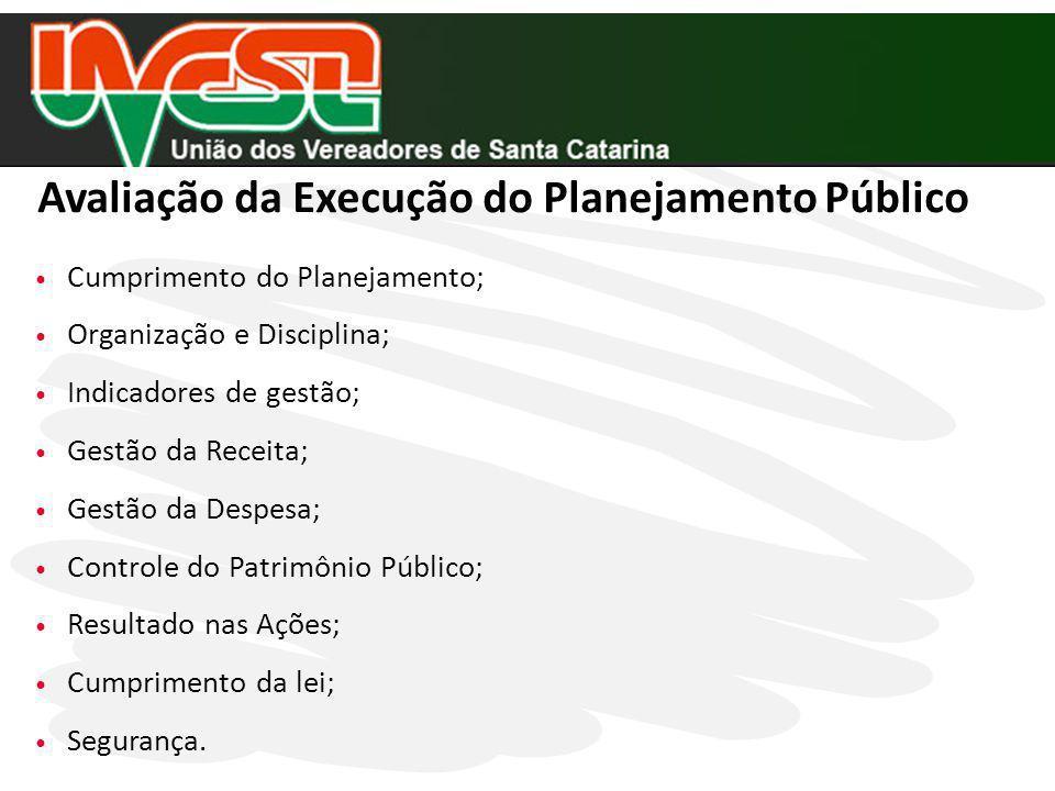 Cumprimento do Planejamento; Organização e Disciplina; Indicadores de gestão; Gestão da Receita; Gestão da Despesa; Controle do Patrimônio Público; Re