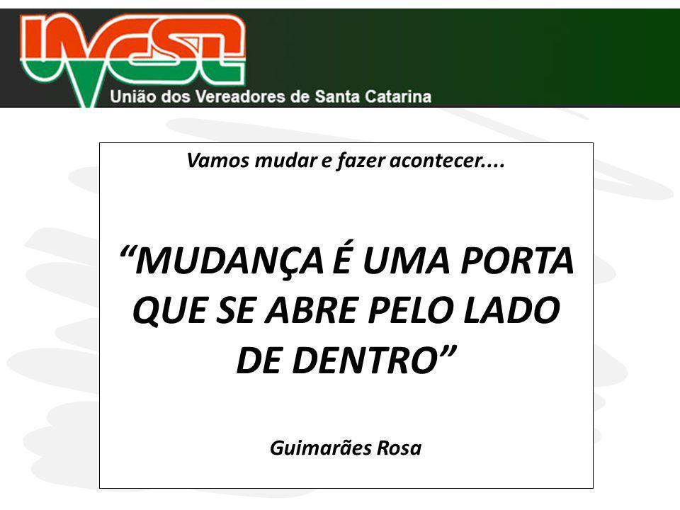 Vamos mudar e fazer acontecer.... MUDANÇA É UMA PORTA QUE SE ABRE PELO LADO DE DENTRO Guimarães Rosa