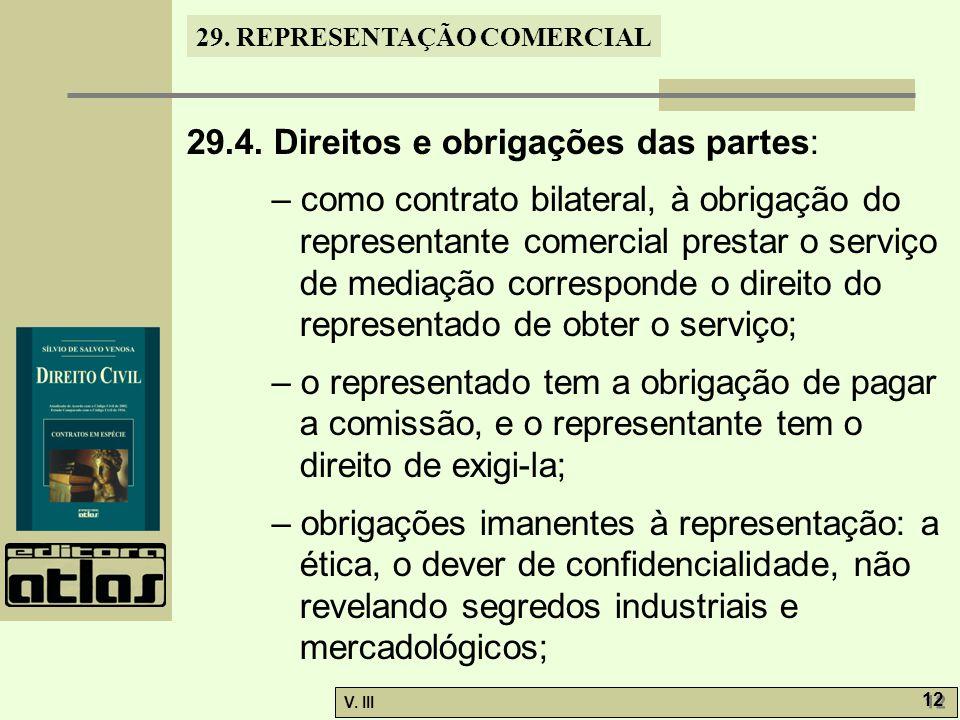 29. REPRESENTAÇÃO COMERCIAL V. III 12 29.4. Direitos e obrigações das partes: – como contrato bilateral, à obrigação do representante comercial presta