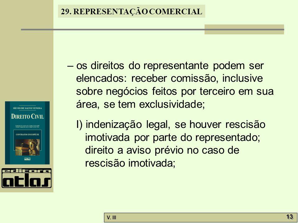 29. REPRESENTAÇÃO COMERCIAL V. III 13 – os direitos do representante podem ser elencados: receber comissão, inclusive sobre negócios feitos por tercei