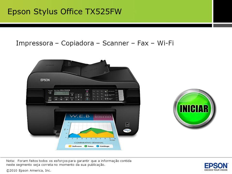 A Epson Stylus Office TX525FW permite a seus usuários uma opção de configuração da rede sem fio – temporalmente usando um cabo USB ou usando o painel de controle da impressora.