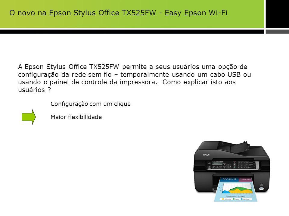 A Epson Stylus Office TX525FW permite a seus usuários uma opção de configuração da rede sem fio – temporalmente usando um cabo USB ou usando o painel