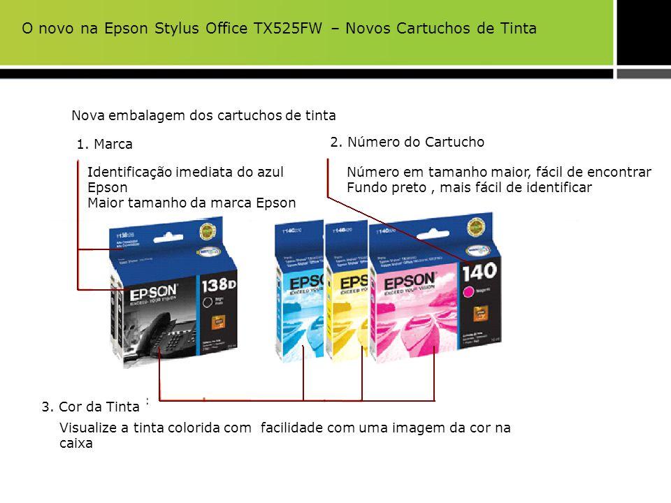 Visualize a tinta colorida com facilidade com uma imagem da cor na caixa 3. Cor da Tinta Nova embalagem dos cartuchos de tinta 1. Marca 2. Número do C