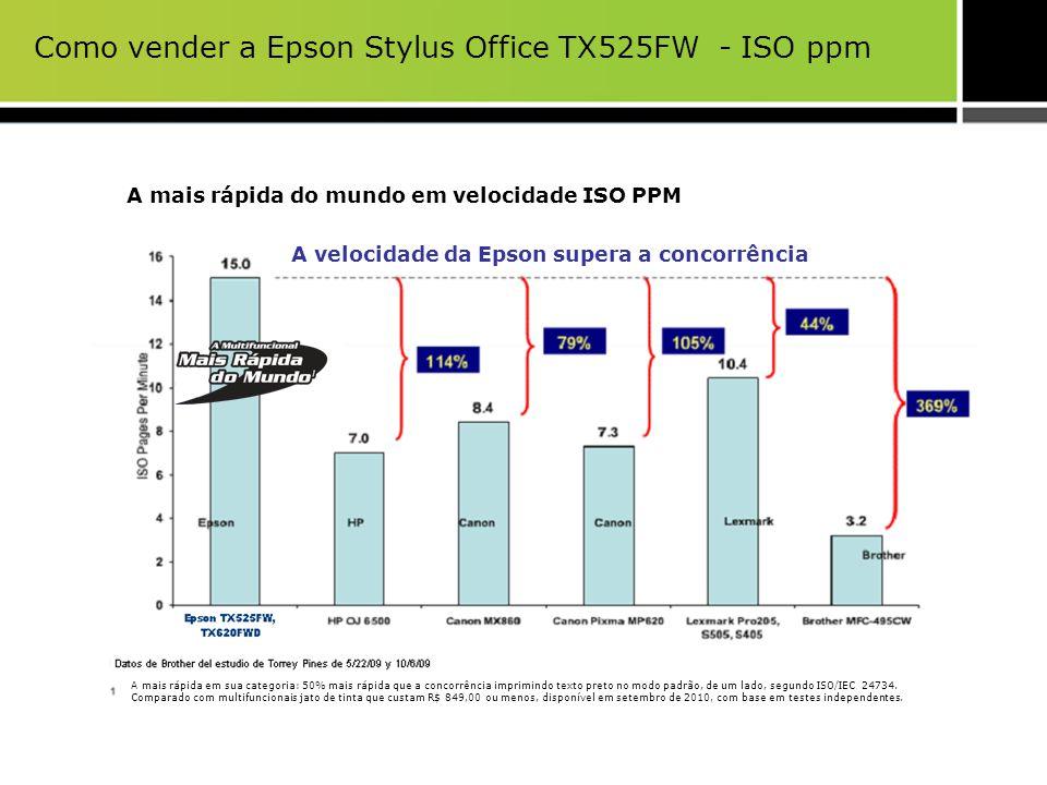 Como vender a Epson Stylus Office TX525FW - ISO ppm A velocidade da Epson supera a concorrência A mais rápida do mundo em velocidade ISO PPM A mais rá