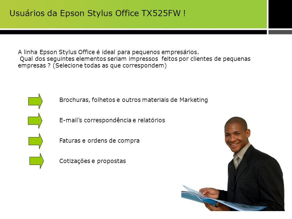 Usuários da Epson Stylus Office TX525FW ! A linha Epson Stylus Office é ideal para pequenos empresários. Qual dos seguintes elementos seriam impressos