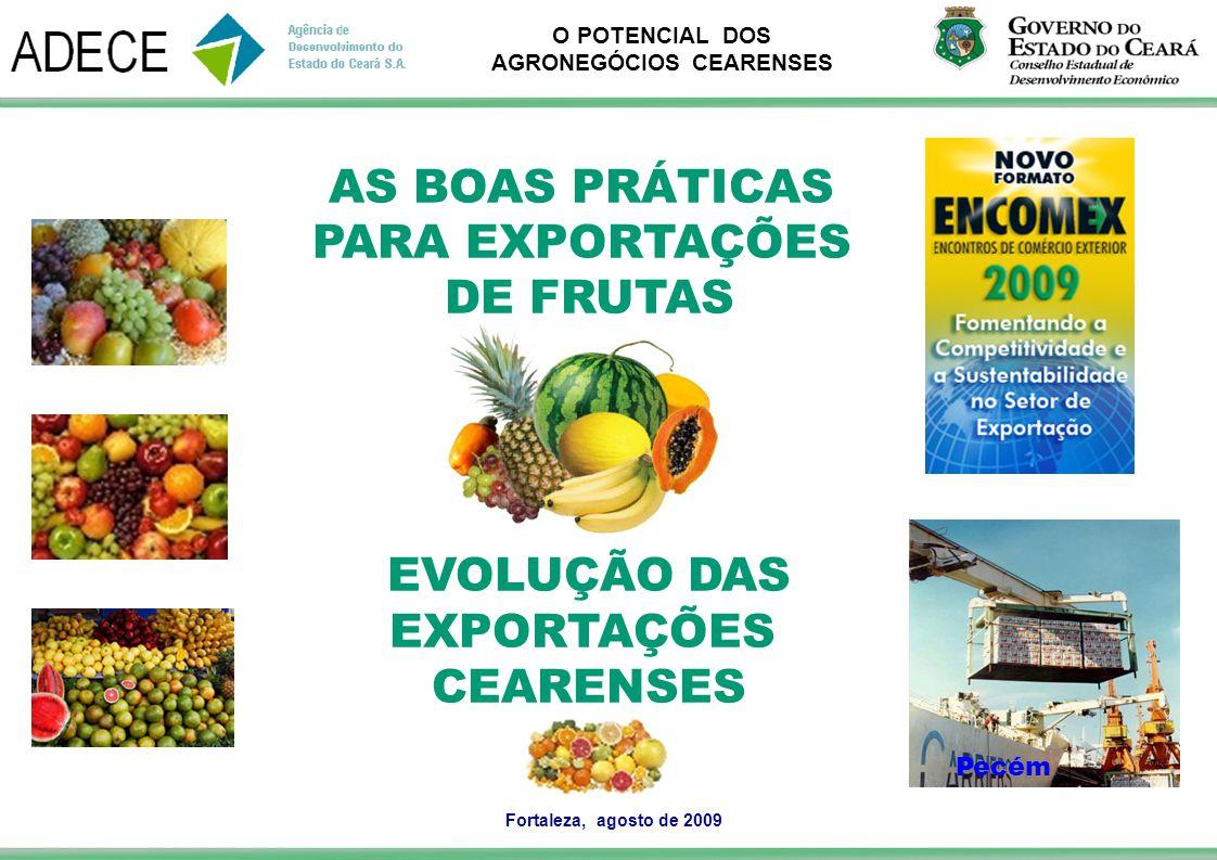 O POTENCIAL DOS AGRONEGÓCIOS CEARENSES AS BOAS PRÁTICAS PARA EXPORTAÇÕES DE FRUTAS EVOLUÇÃO DAS EXPORTAÇÕES CEARENSES Fortaleza, agosto de 2009 Pecém