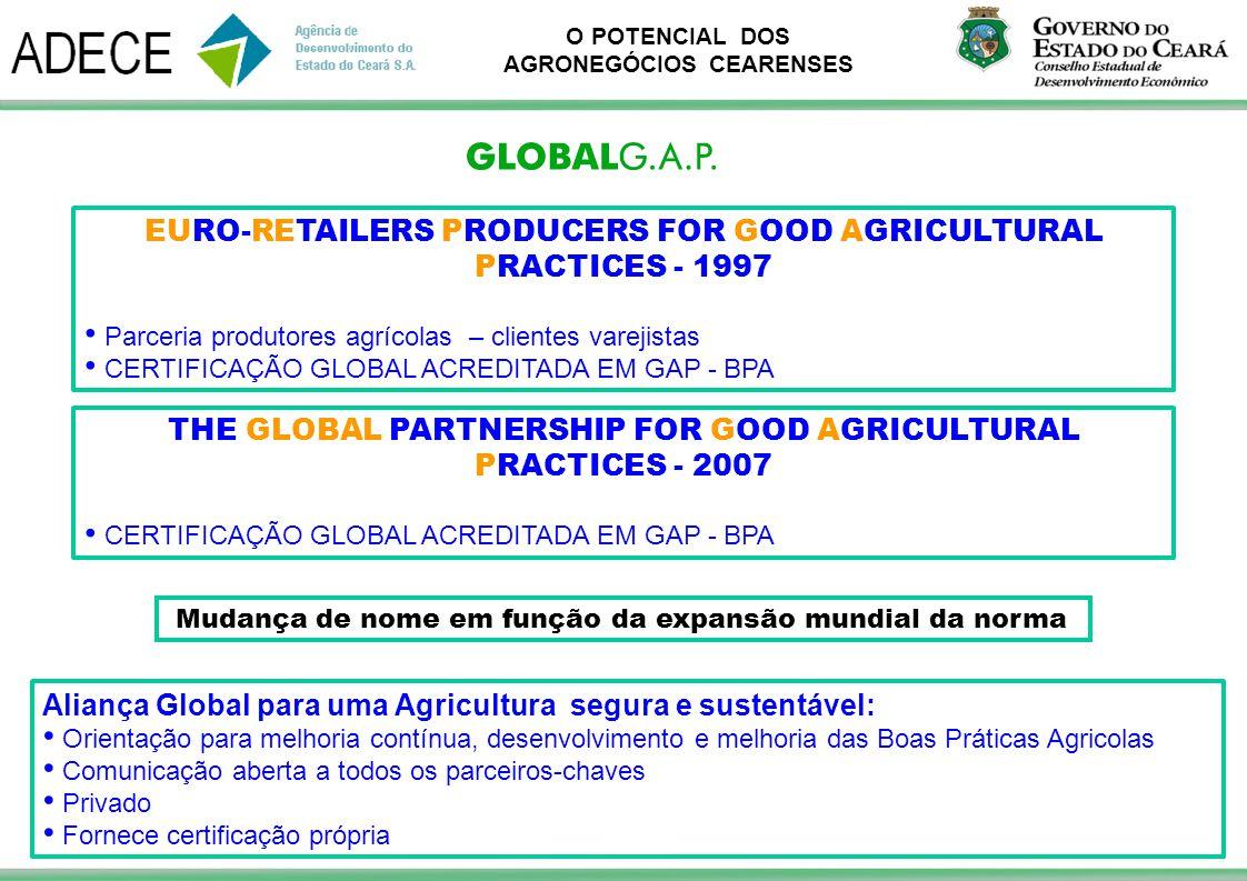 O POTENCIAL DOS AGRONEGÓCIOS CEARENSES EURO-RETAILERS PRODUCERS FOR GOOD AGRICULTURAL PRACTICES - 1997 Parceria produtores agrícolas – clientes vareji
