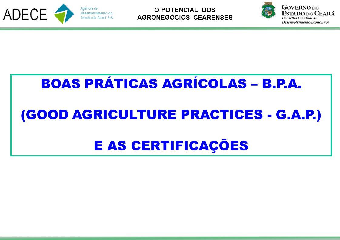 O POTENCIAL DOS AGRONEGÓCIOS CEARENSES BOAS PRÁTICAS AGRÍCOLAS – B.P.A. (GOOD AGRICULTURE PRACTICES - G.A.P.) E AS CERTIFICAÇÕES
