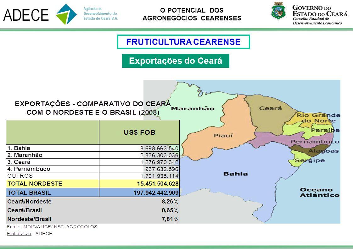 O POTENCIAL DOS AGRONEGÓCIOS CEARENSES Exportações do Ceará FRUTICULTURA CEARENSE