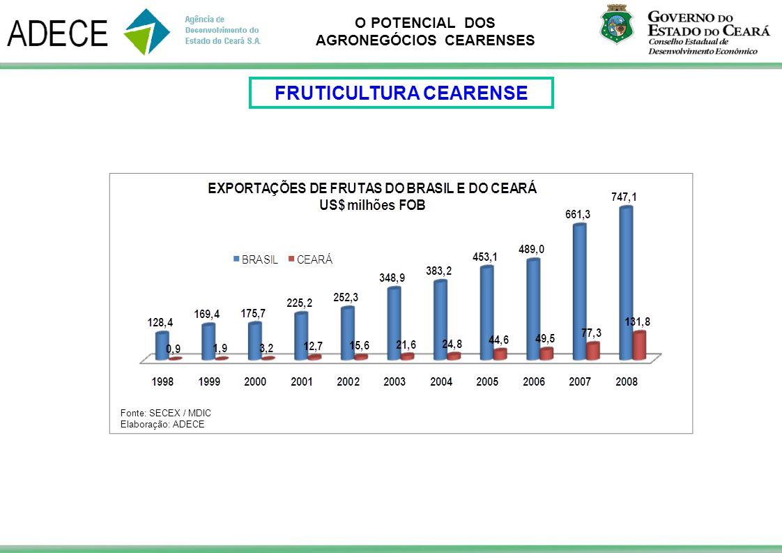 O POTENCIAL DOS AGRONEGÓCIOS CEARENSES Fonte: SECEX / MDIC Elaboração: ADECE FRUTICULTURA CEARENSE