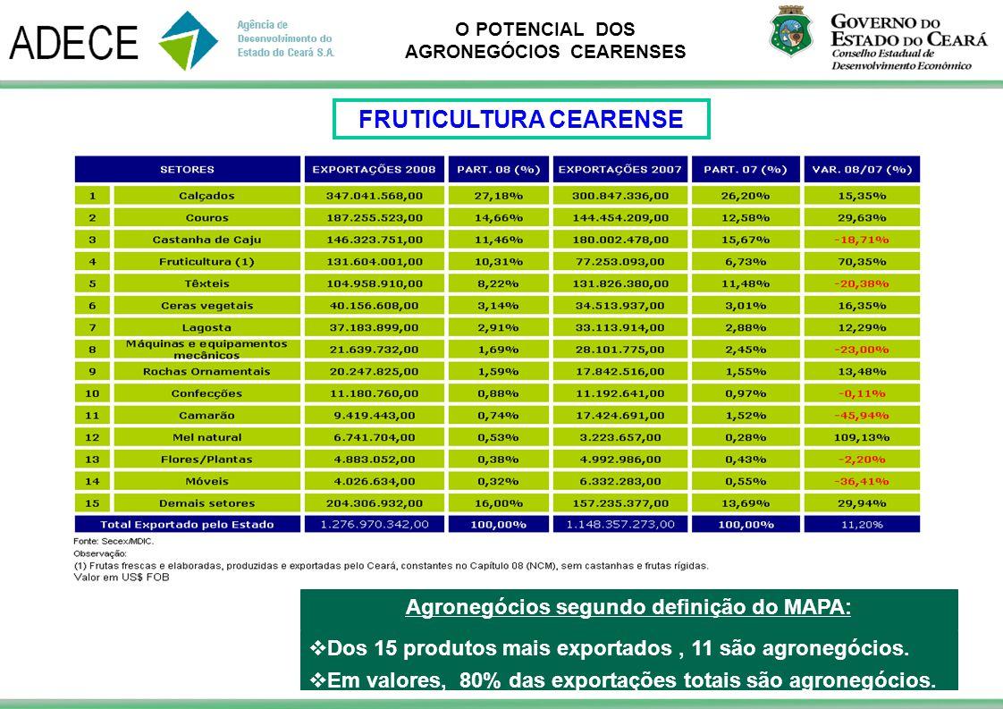 O POTENCIAL DOS AGRONEGÓCIOS CEARENSES Dos 15 produtos mais exportados, 11 são agronegócios. Em valores, 80% das exportações totais são agronegócios.