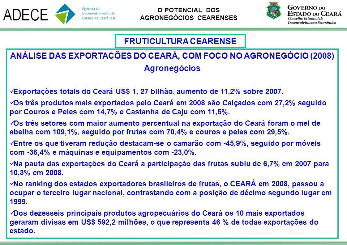 O POTENCIAL DOS AGRONEGÓCIOS CEARENSES ANÁLISE DAS EXPORTAÇÕES DO CEARÁ, COM FOCO NO AGRONEGÓCIO (2008) Agronegócios Exportações totais do Ceará US$ 1