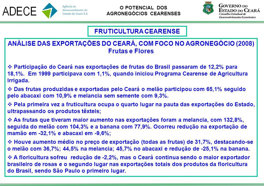 O POTENCIAL DOS AGRONEGÓCIOS CEARENSES ANÁLISE DAS EXPORTAÇÕES DO CEARÁ, COM FOCO NO AGRONEGÓCIO (2008) Frutas e Flores Participação do Ceará nas expo