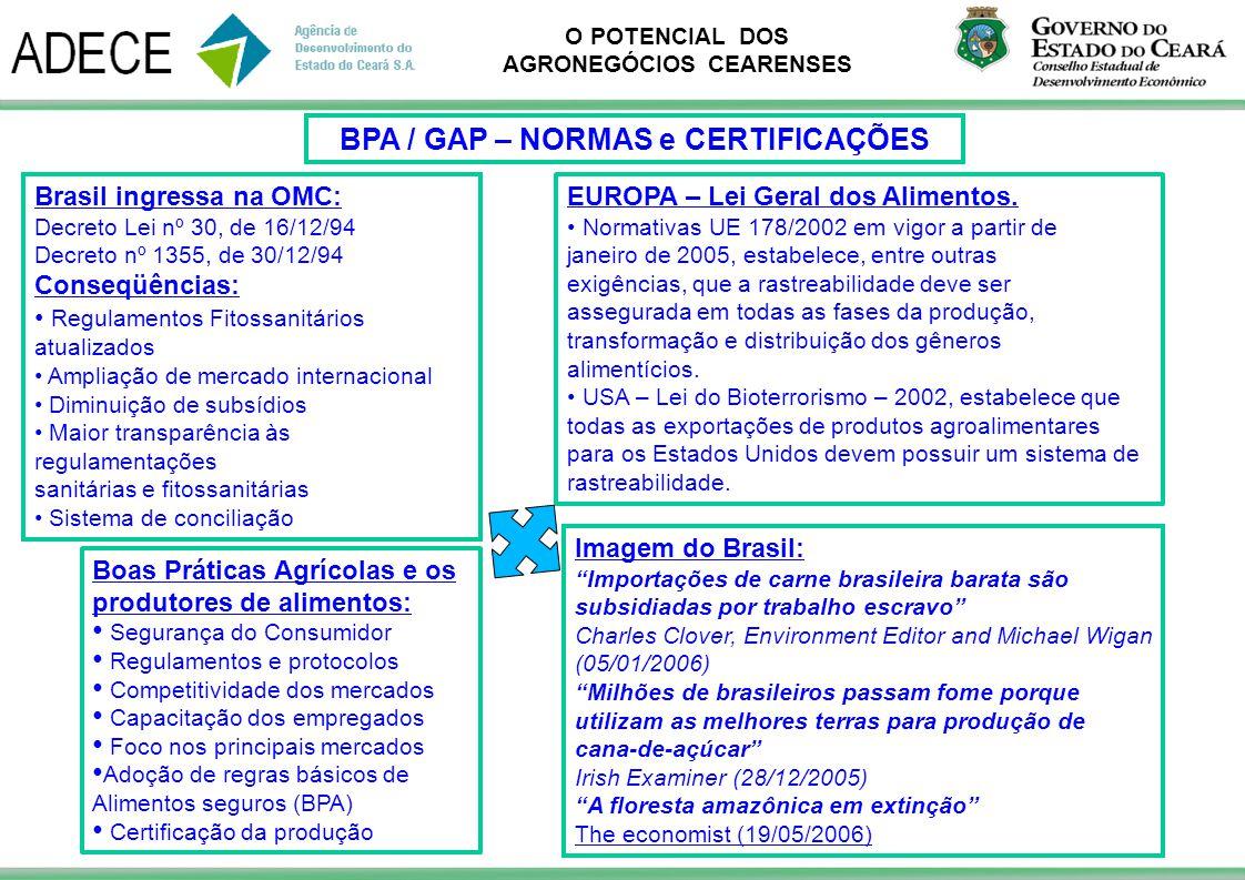 O POTENCIAL DOS AGRONEGÓCIOS CEARENSES Boas Práticas Agrícolas e os produtores de alimentos: Segurança do Consumidor Regulamentos e protocolos Competi