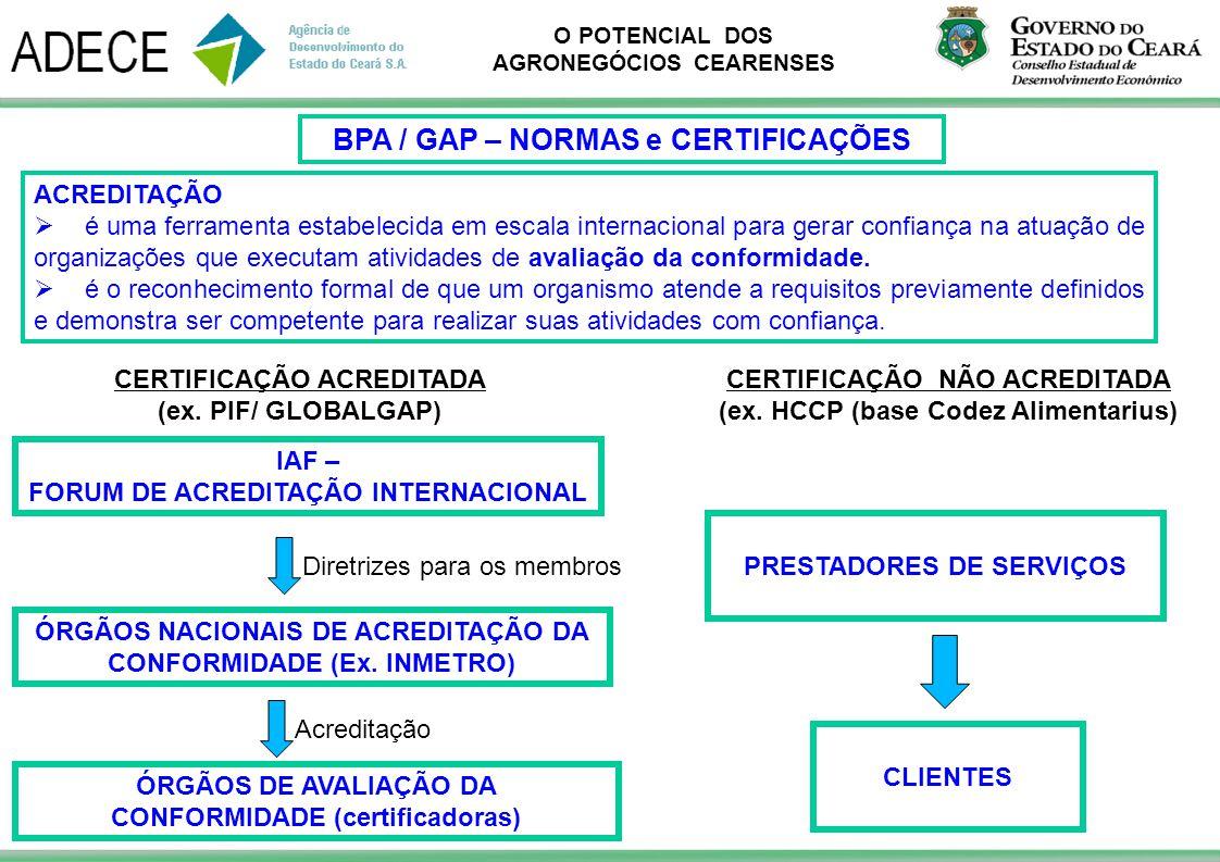 O POTENCIAL DOS AGRONEGÓCIOS CEARENSES ACREDITAÇÃO é uma ferramenta estabelecida em escala internacional para gerar confiança na atuação de organizaçõ